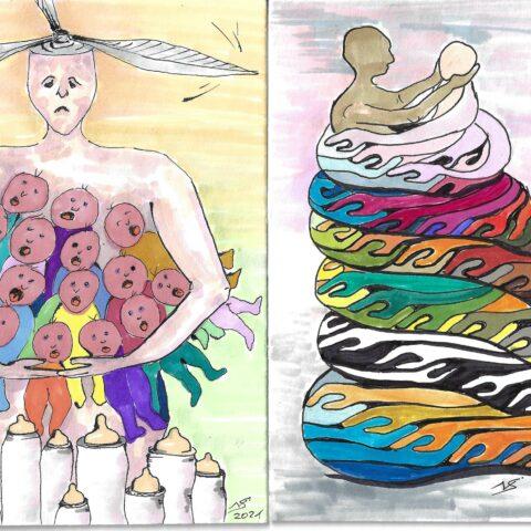 Mail-Art-Projekt 2020/21: Ehre allen Müttern aller Zeiten! Honour to all mothers of all times!